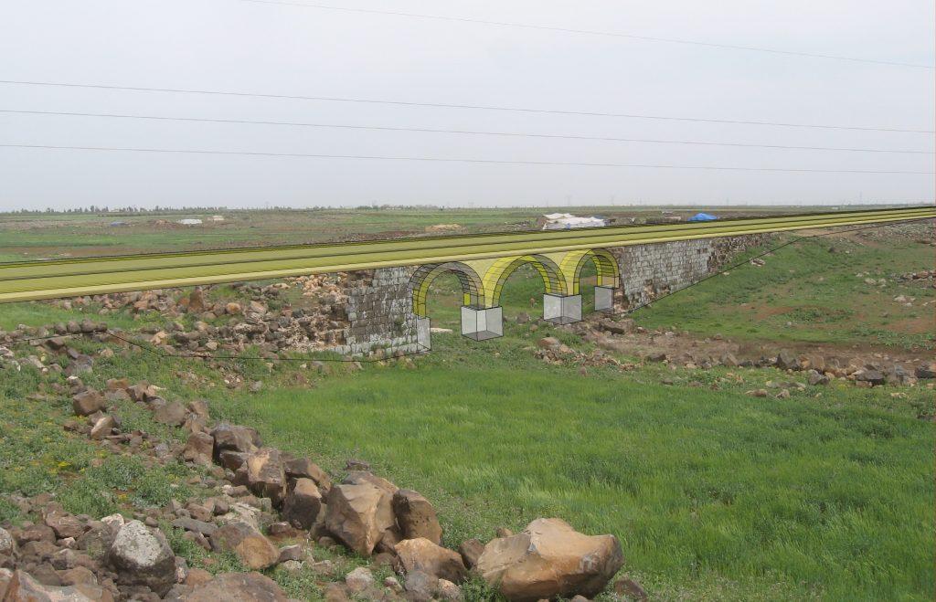 Rekonstruktion der Wadi Ezra Aquädukt Brücke